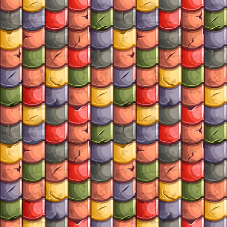 architecture abstract: Cartoon colored old Roof Tiles Seamless Background, collection texture