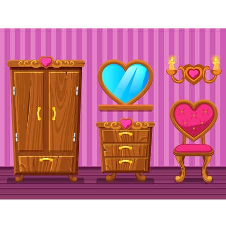 Establecer dibujos animados divertidos muebles retro de madera, rosa niña Sala de estar