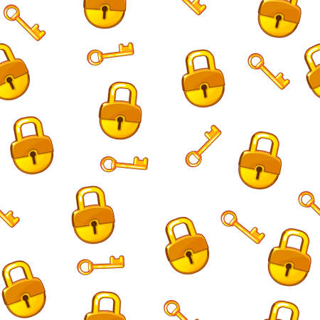 Cartoon gold Lock padlock and key on white background, seamless pattern Stock Photo