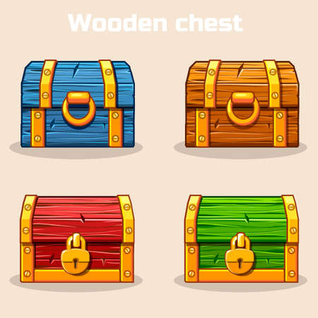 Closed colored wooden treasure chest, gold lock, game and UI elements