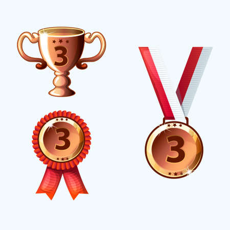 perks: Set bronze medals and awards, trophy in Stock Photo
