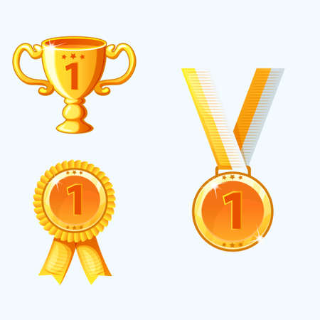 Set gold medals and awards, trophy in
