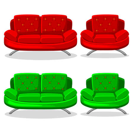 red sofa: cartoon colorful armchair and sofa, set 11 in