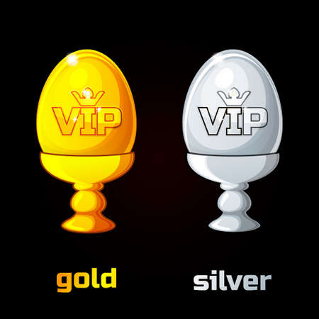priceless: Easter golden and silver VIP egg in a stand