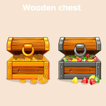 Opened treasure chest with coins and diamonds in Stock Photo