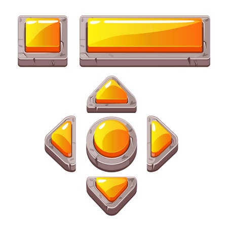 Orange Cartoon stone buttons for game or web design, gui elements set