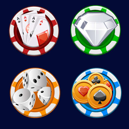 design collection Poker icon color chips in  illustrations