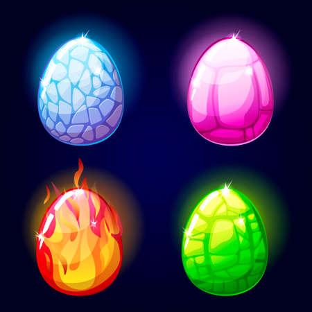 Magic set icons, dragon eggs, game elements