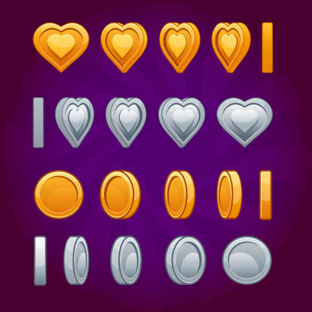 Cartoon Rotation animation coin and heart coin turns around, frame by frame, gold, silver