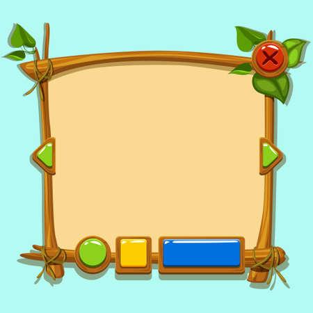 mobile website: Cute cartoon game design interface. Illustration