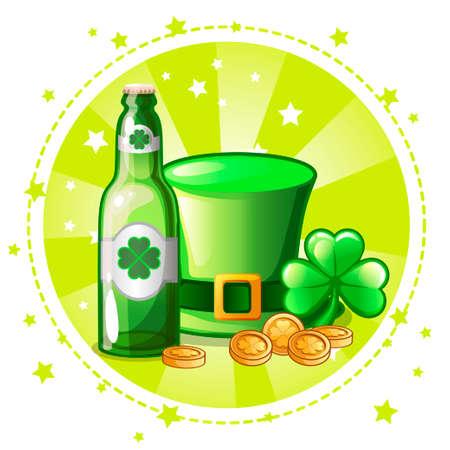 Cartoon green hat, clover and beer bottle