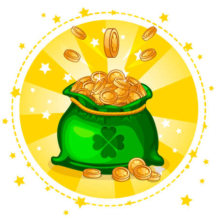 Cartoon full bag of gold coins