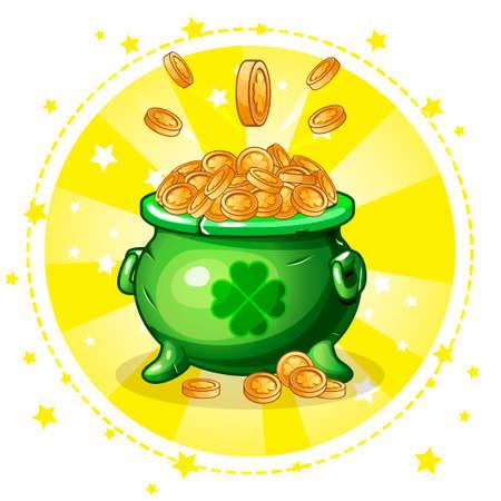Cartoon green pot of gold coins