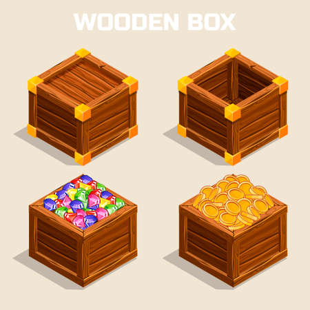crystal background: cartoon wooden isometric boxes for game
