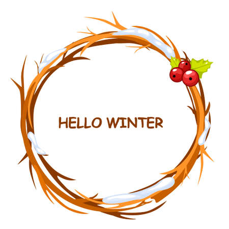 winter garden: greeting card, HELLO WINTER in circle of twigs