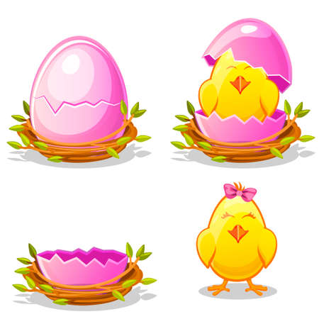Cartoon funny chicken and pink egg in a nest of twigs in various stages of development, chick young girl with bow ribbon