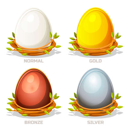 four objects: Cartoon funny colored Eggs in birds nest of twigs. Normal, gold, silver and bronze