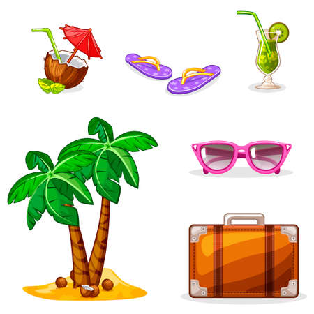 nonalcoholic: Vacation and travel background. Set summer symbols. Vector Stock Illustration