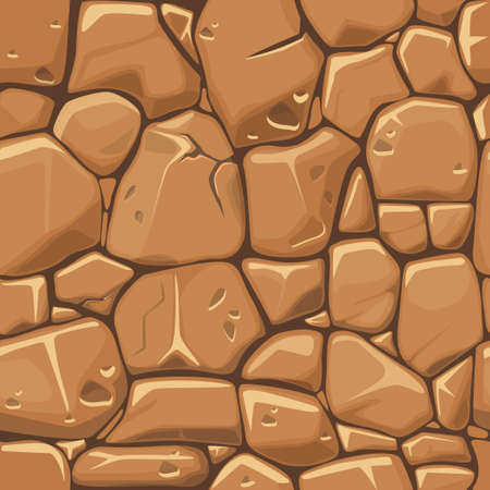 rubble: Stone texture in brown colors seamless background. Vector illustration