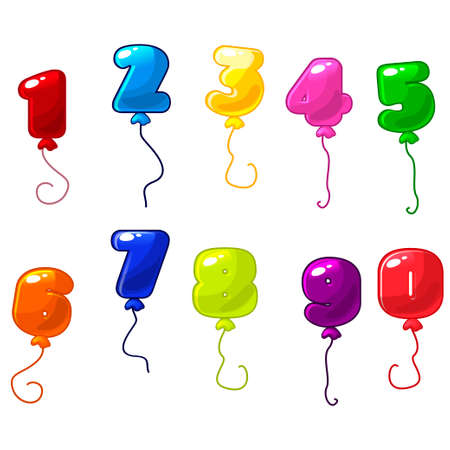 Funny cartoon and colorful balloons number, vector balloons icons on white background