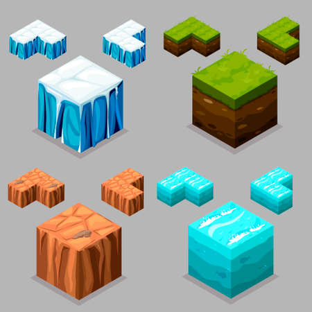 model kit: 3D Isometric Landscape Cube - Ice, desert , land and water Element. Icon Can be used for Game, Web, Mobile App, Infographics. Game asset.