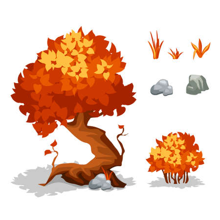 Vector illustration. Set of cartoon autumn orange plants. Trees, bushes, grass and stone