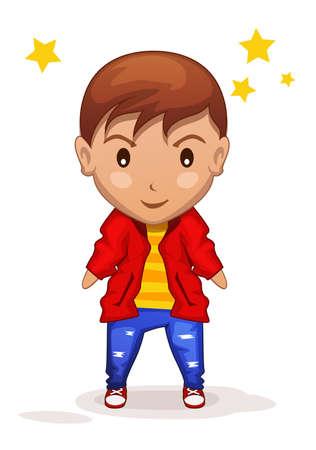 stylized cute cartoon children boy