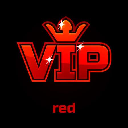 Red Vip vector symbol on black background, set 10 Illustration