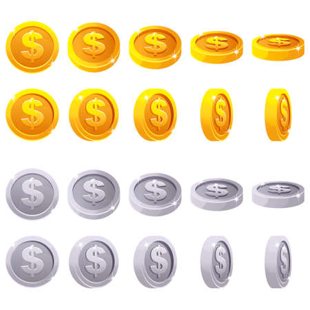 Cartoon set of 3D metallic coins, vector animation game rotation. Gold and silver dollar simbol Иллюстрация
