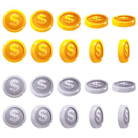 Cartoon set of 3D metallic coins, vector animation game rotation. Gold and silver dollar simbol Vettoriali