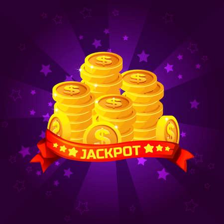 costs: Jackpot winner background. Golden coins treasure For Ui Game element, background glow Illustration