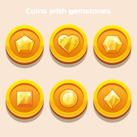 ruby: Set of different cartoon coins with gemstones inside, for web game or application interface in vector Illustration