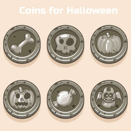 investment concept: stone coins for Halloween in vector