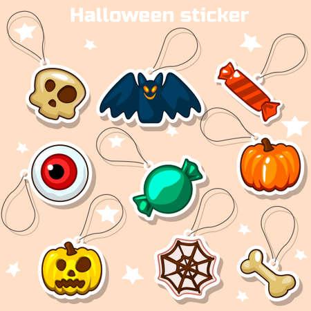 symbol Halloween sticker icons in vector set Illustration