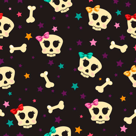 Seamless with stars and the bones of the skull girl glamorous, set1
