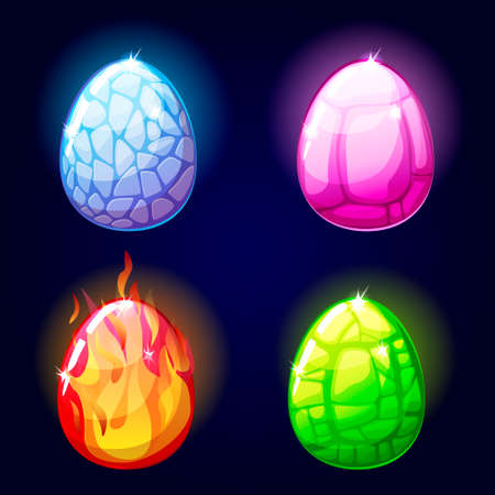 cartoon Magic set icons, dragon eggs, game elements in vector Illustration