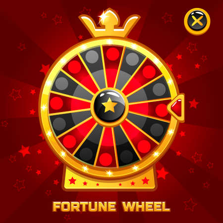 wheel of fortune: Vector Gold Fortune Wheel illustration For Ui Game element, background glow