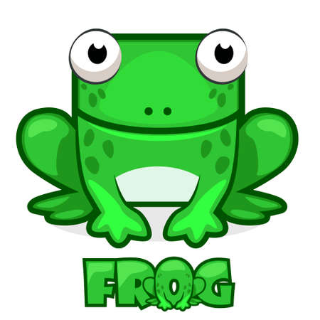 Cute cartoon square green frog Stock Vector - 78276152