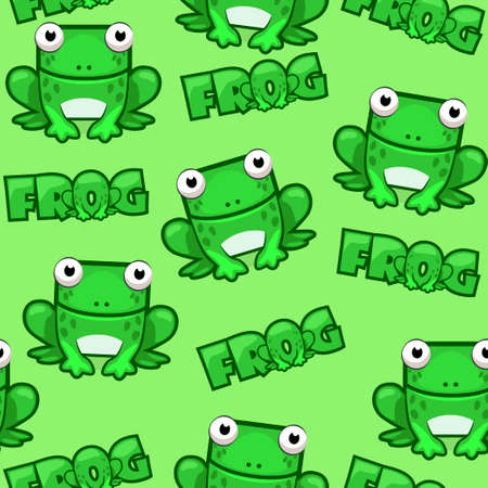 Seamless pattern Cute cartoon square frog on green background Illustration