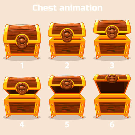antique furniture: Animation antique old box, step by step open and closed wooden Treasure chest
