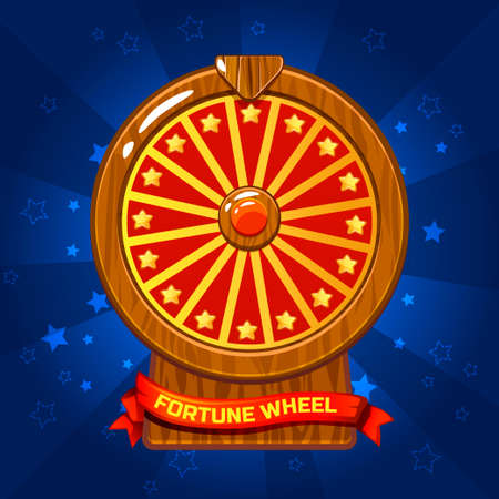 Vector Wooden Fortune Wheel illustration For Ui Game element, background glow