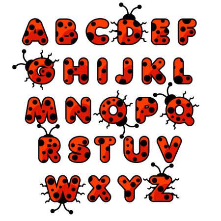 Cute cartoon ladybug zoo alphabet. English abc animals education cards kids on white background