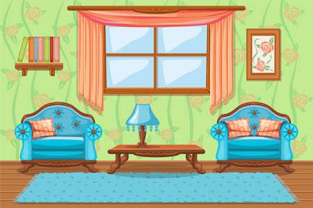 Zestaw mebli tapicerowanych kreskówką, Pokój dzienny Ilustracje wektorowe
