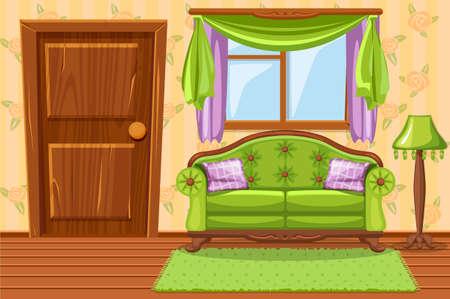 Set cartoon Green Vintage cushioned furniture, Living room Vectores
