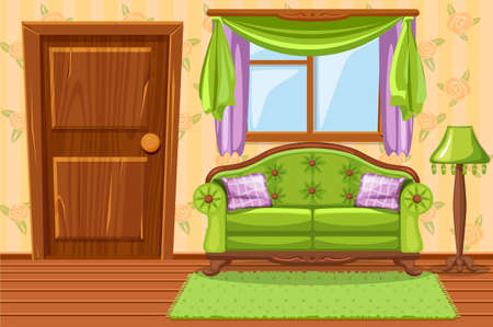 Set cartoon Green Vintage cushioned furniture, Living room Illustration