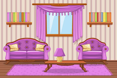 Set Cartoon Green Vintage Cushioned Furniture, Living Room Royalty ...