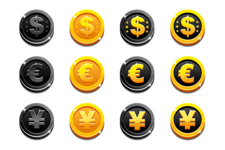 yen: Vector Cartoon set golden and black dollar, euro and yen coins