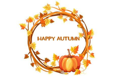 Happy autumn, illustration orange wreath with pumpkin Çizim