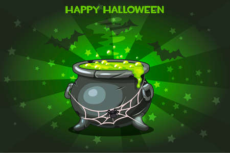 boiler: Cartoon pot with Magic potion, set Illustration Happy Halloween