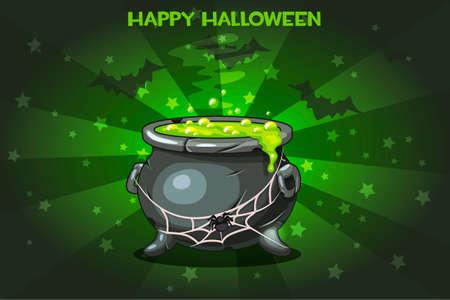 Cartoon pot with Magic potion, set Illustration Happy Halloween